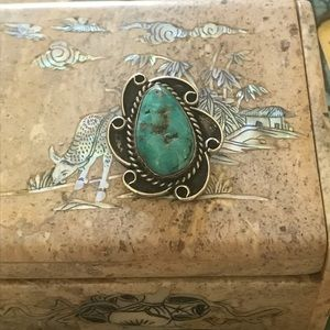 Jewelry - Native sterling and turquoise pendant signed LJ.